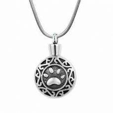 Stainless Steel Cremation Urn Pendant Chain Circle Single Paw Print