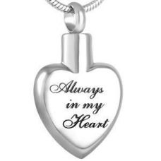 Stainless Steel Cremation Urn Pendant Chain - Heart - Always My Heart