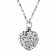 Stainless Steel Cremation Urn Pendant Chain - Heart Little Hearts