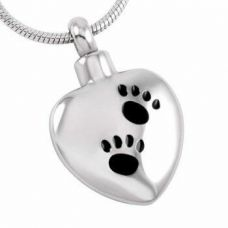 Stainless Steel Cremation Urn Pendant Chain - Heart - Two Paw Prints
