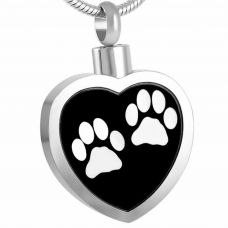 Stainless Steel Cremation Urn Pendant Chain Heart Two White Paw Prints