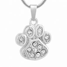 Stainless Steel Cremation Urn Pendant Chain - Paw Print Clear Stones