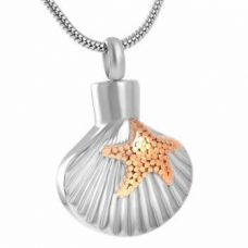 Stainless Steel Cremation Urn Pendant Chain - Scallop Shell Starfish