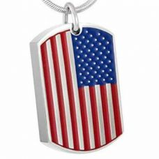Stainless Steel Cremation Urn Pendant w/ Chain - Dog Tag - USA Flag