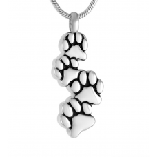 Stainless Steel Cremation Urn Pendant w/ Chain - Four Paw Prints