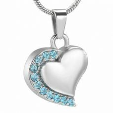 Stainless Steel Cremation Urn Pendant w/ Chain - Heart - Blue Stones