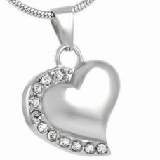 Stainless Steel Cremation Urn Pendant w/ Chain - Heart - Clear Stones