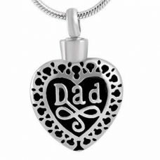 Stainless Steel Cremation Urn Pendant w/ Chain - Heart - Dad