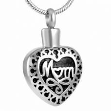 Stainless Steel Cremation Urn Pendant w/ Chain - Heart - Mom