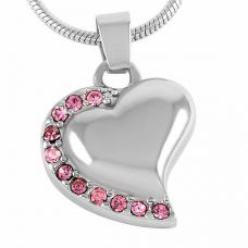 Stainless Steel Cremation Urn Pendant w/ Chain - Heart - Pink Stones