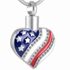 Stainless Steel Cremation Urn Pendant w/ Chain - Heart w/ USA Flag