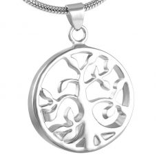 Stainless Steel Cremation Urn Pendant w/ Chain - Tree of Life