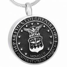 Stainless Steel Cremation Urn Pendant w/ Chain - U.S. Air Force
