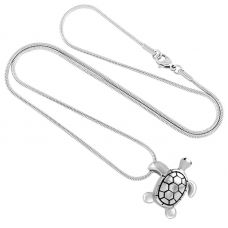 Stainless Steel Turtle Cremation Urn Pendant w/ Chain