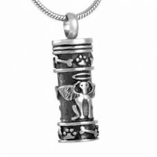 Stainless Steel Urn Pendant Chain Guardian Dog Angel Cylinder