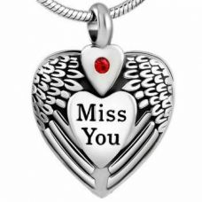 """Stainless Steel Urn Pendant Chain """"Miss You"""" Heart Angel Wings"""