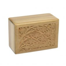 Teak Urn w/ Hand-Carved Tree of Life - Small