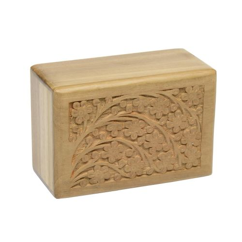 Teak Urn w/ Hand-Carved Tree of Life - Small -  - TW-S