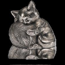 Sleeping Kitty Urn w/ Yarn Ball - Silver - A-1461-S