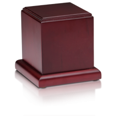 Birch Wood Cube Cremation Urn w/ Cherry Finish - Small