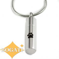 Stainless Steel Cremation Urn Pendant Chain Cylinder Single Paw Print