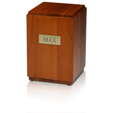 Vertical Birch Wood Cube Urn w/ Honey Finish - Adult