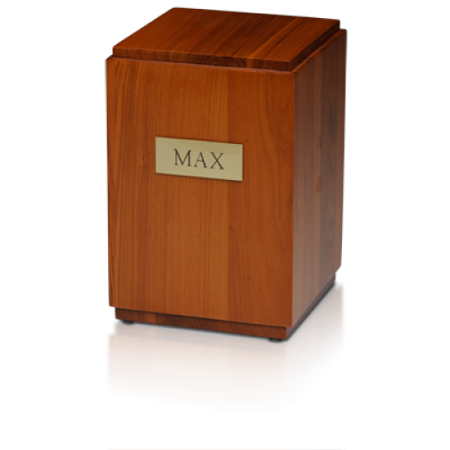 Vertical Birch Wood Cube Urn w/ Honey Finish - Adult -  - M-150-HONEY