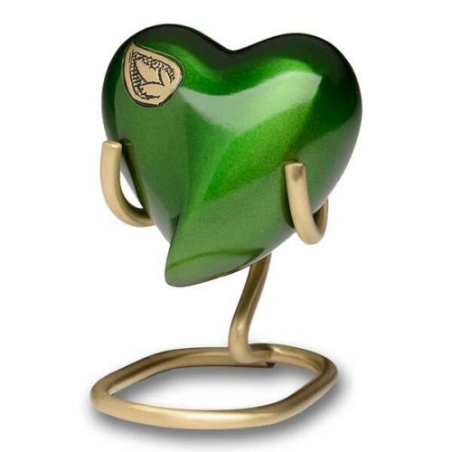 Vibrant Green Brass Cremation Urn - Heart Keepsake -  - B-1675-H