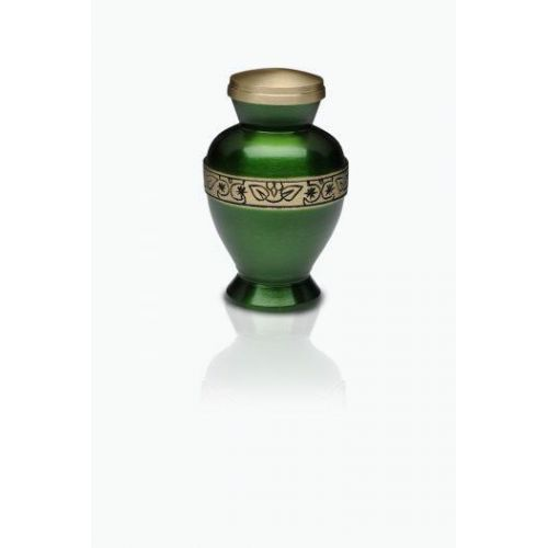 Vibrant Green Brass Cremation Urn - Keepsake -  - B-1675-K