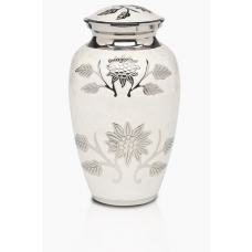 White Colored Cremation Urn w/ Flowers - Adult - B-1500-A-W