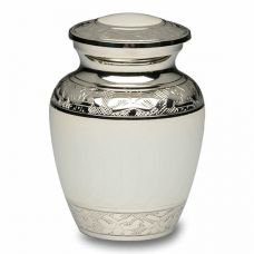 White Enamel and Silver Color Cremation Urn - Small
