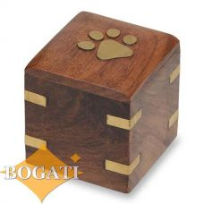 Wood Pet Keepsake Urn Brass Paw and Brass Corners 1.5 cu. in.