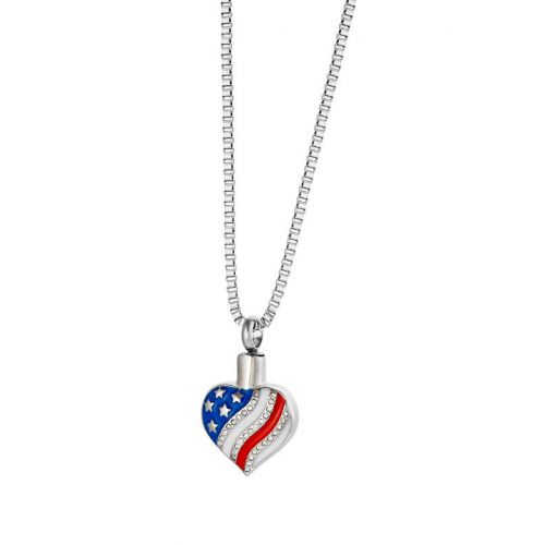 American Flag Heart - Cremation Jewelry -  - 10202