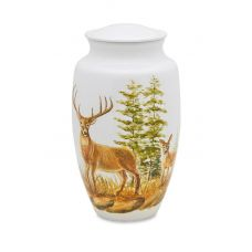 Two Deer Wildlife/Hunters - Adult - Cremation Urn 210 Cu. In.