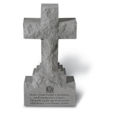 15 in. Cross On Base  w/ If Tears Could Build All Cast Stone Memorial