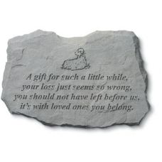A Gift For Such A Little...  w/Lamb All Weatherproof Cast Stone