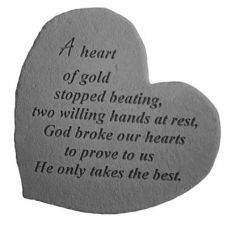 A Heart Of Gold... Decorative Stones All Weatherproof Cast Stone