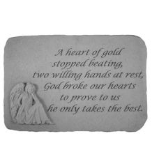 A Heart Of Gold...(With Sitting Angel) All Weatherproof Cast Stone