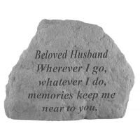 Beloved Husband Where Ever I Go All Weatherproof Cast Stone Memorial