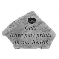 Cats Leave...W Heart All Weatherproof Cast Stone Memorial
