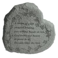 Heart-A Heart Of Gold Stopped Beating All Cast Stone Memorial