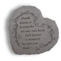 Heart-Death Leaves A Heartache... All Weatherproof Cast Stone Memorial