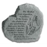 Heart-My Mother Kept A Garden... All Weatherproof Cast Stone Memorial