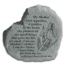 Heart-My Mother Kept A Garden... All Weatherproof Cast Stone Memorial