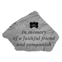 In Memory Of...W Dog Bone Decorative Weatherproof Cast Stone Memorial