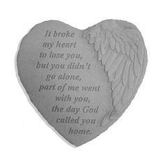 It Broke My Heart... All Weatherproof Cast Stone Memorial