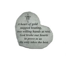 Small Heart A Heart Of Gold... All Weatherproof Cast Stone Memorial
