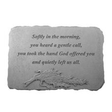 Softly In The Morning w/Rosemary All Weatherproof Cast Stone Memorial