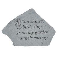 Sun Shines, Birds Sing,...( w/Cherub) All Weatherproof Cast Stone