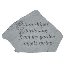 Sun Shines, Birds Sing,...( w/Cherub) All Weatherproof Cast Stone